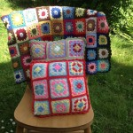 Crochet blanket and cushion set